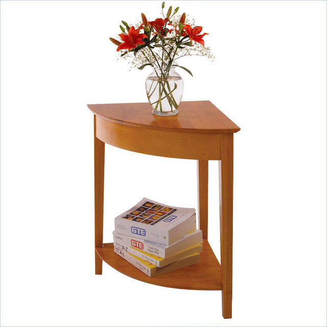 Winsome Solid Wood Corner Table In Honey.
