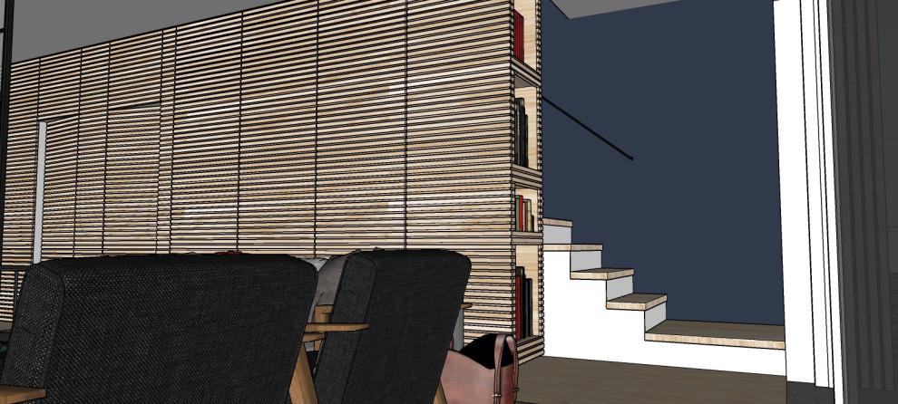 Render_Vista dettaglio parete scala rivestita in boiserie.