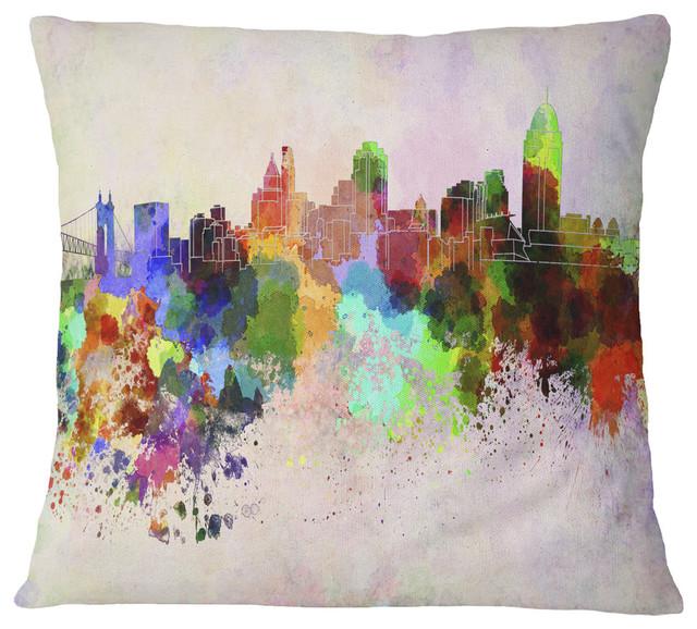 Cincinnati Skyline Cityscape Throw Pillow Contemporary Decorative Pillows By Design Art Usa