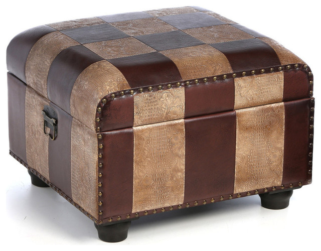 Faux Leather Ottoman Trunk W/lid, Mixed Patch Work.
