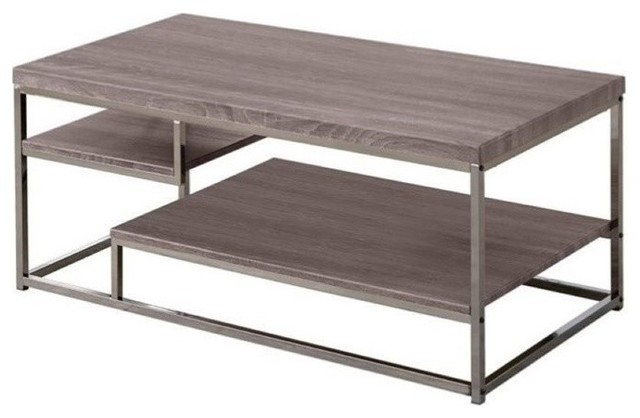 Bowery Hill Weathered Coffee Table, Dark Gray And Chrome.