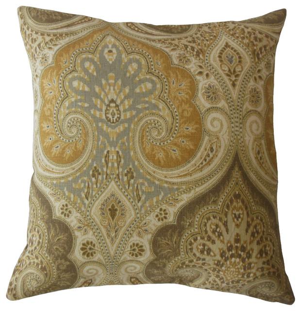 """Saeran Damask Throw Pillow, Brown, 20""""x20"""""""