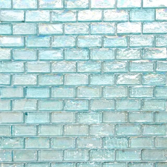iridescent brick glass mosaic tile sample aqua blue