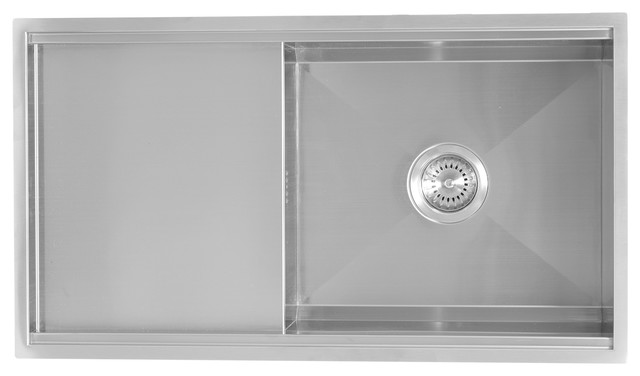 Enki Stainless Steel Undermount Kitchen Sink Drainboard 1 Bowl Satin  Reversible