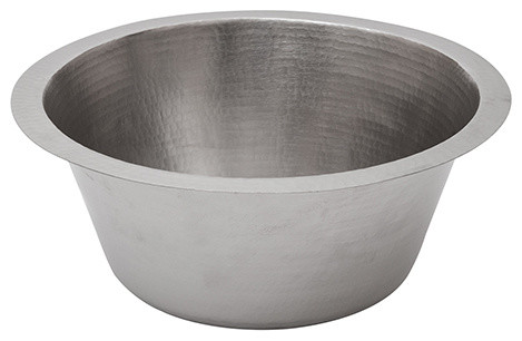 """16"""" Round Hammered Copper Prep Sink, Electroless Nickel With 3.5"""" Drain"""