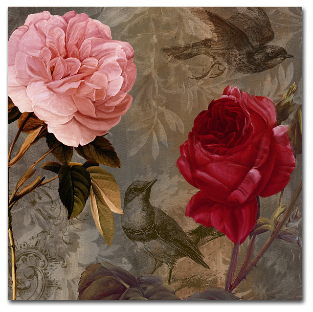 "Color Bakery &x27;bird And Roses&x27; Canvas Art, 35""x35""."