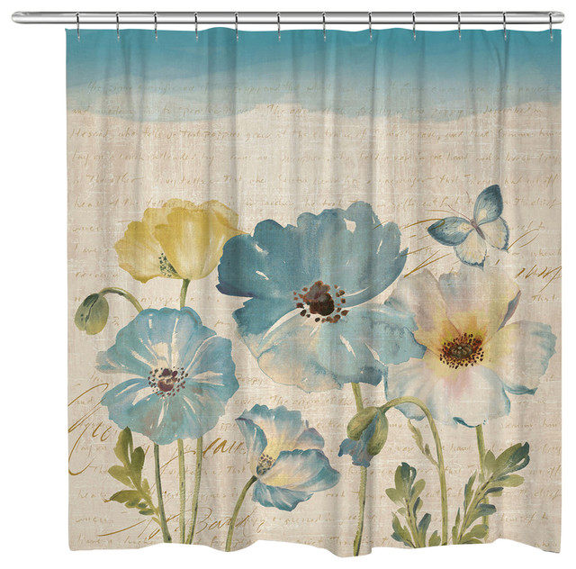 Watercolor Poppies Shower Curtain Teal