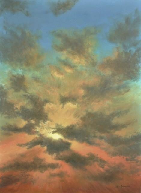 Original Tropical Caribbean Sunset Sky And Clouds Painting, Sky Burst.