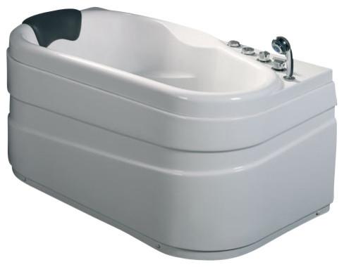 5&x27; White Acrylic Corner Whirpool Bathtub, Drain On Right.