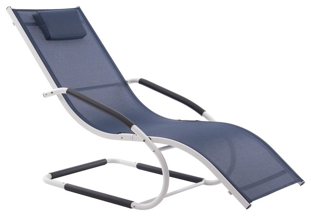 Wave Outdoor Chaise Lounge, Navy and White