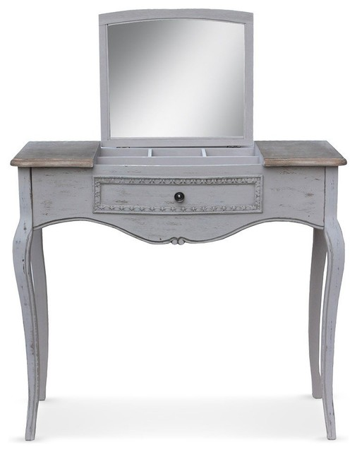 console coiffeuse classique 1 tiroir irina en bois gris. Black Bedroom Furniture Sets. Home Design Ideas