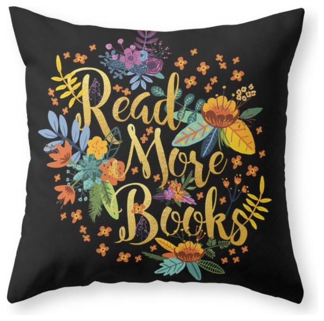 Black Flower Throw Pillow : Society6 Read More Books, Black Floral Gold Throw Pillow - Decorative Pillows Houzz