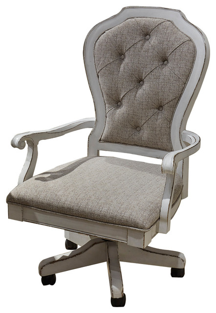Liberty Magnolia Manor Jr Executive Desk Chair, Antique White   Farmhouse    Office Chairs   By Homesquare