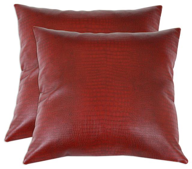 Decorative Faux Leather Pillows : Shop Houzz Brite Ideas Living Tinga Faux Leather Pillows, Set of 2 - Decorative Pillows