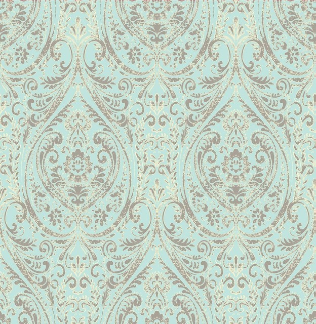 A Street Prints Gypsy Turquoise Damask Wallpaper, Single Roll. -1