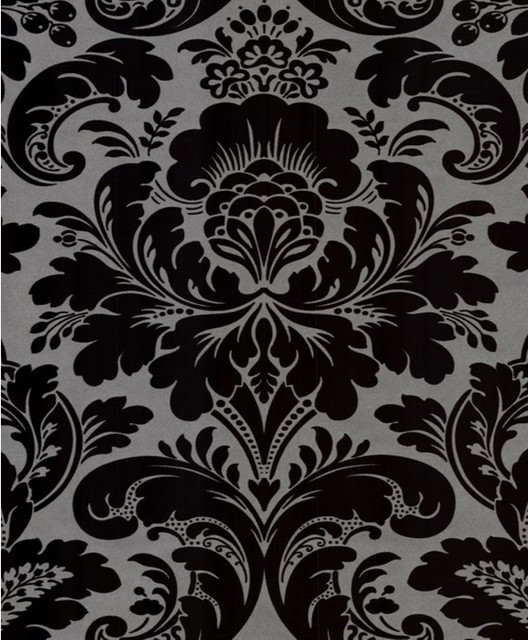 Caesar damask wallpaper wallpaper by wallpaper worldwide for Black and grey wallpaper designs