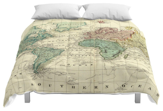 Society6 Vintage Map of The World, 1823 Comforter, Queen, 88x88