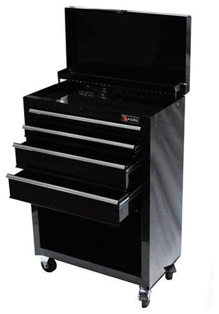 ExcelHardware Roller Metal Tool Chest Storage Drawers, Casters Black - Modern - Garage And Tool ...