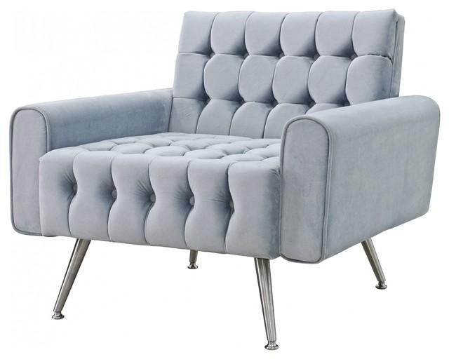 33 W Alcide Occasional Chair Modern Tufted Velvet Tapered Chrome Legs