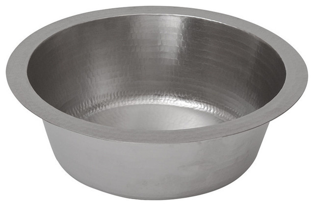"""14"""" Round Hammered Copper Bar Sink In Electroless Nickel With 2"""" Drain Size."""