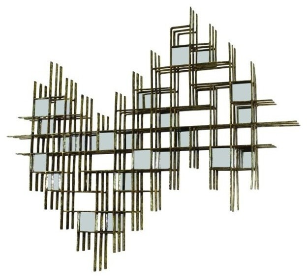 Metal Wall Decor For Bedroom : Dimensional abstract mirrored wall sculpture modern gold