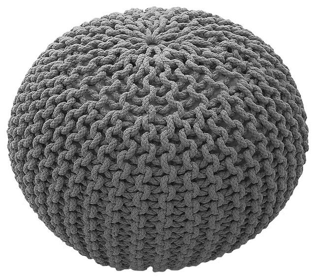 Knit Cotton Pouffe, Silver, Small