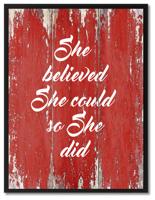 She Believed Could So Did Inspirational Canvas Picture Frame 22