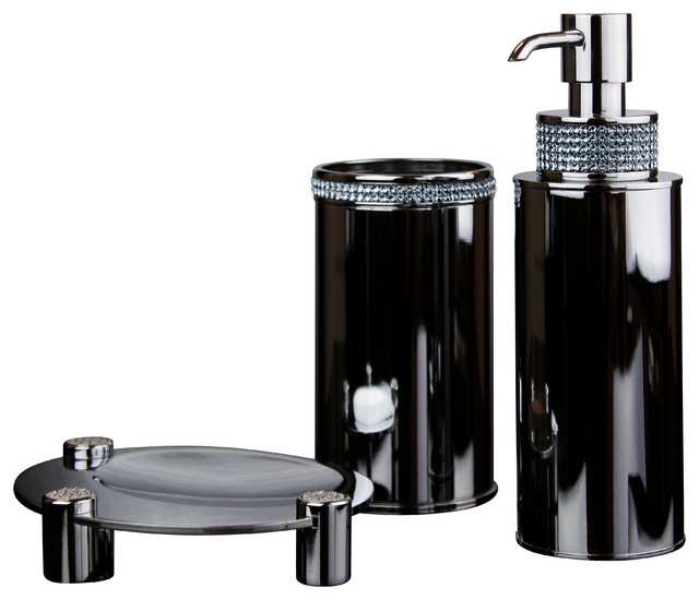Carmen bathroom set swarovski crystals contemporary - Modern bathroom accessories sets ...