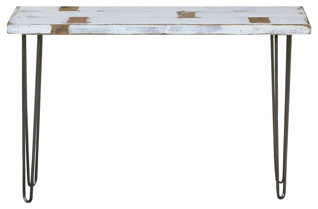 "Industrial 46"" Console Table, White Farmhouse."