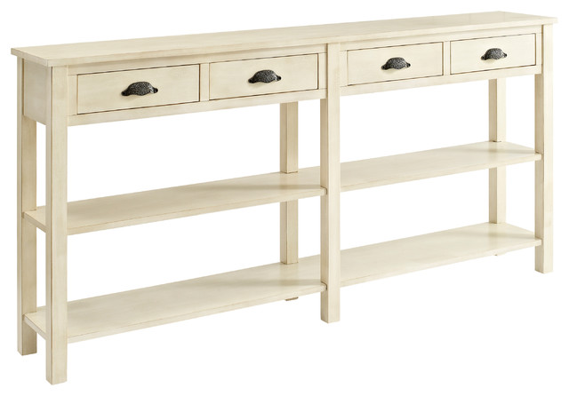 Cream Console Table powell cream crackle console 149-534 - transitional - console