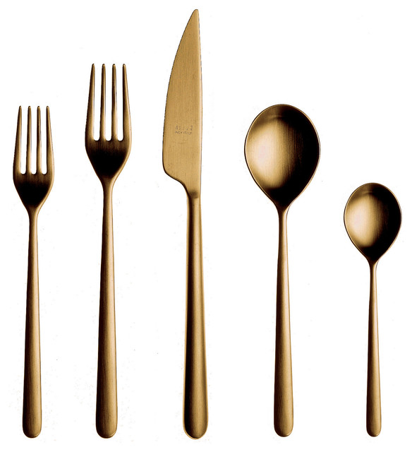 Linea Ice Oro Utensil Set Modern Flatware And Silverware Sets By Ahalife