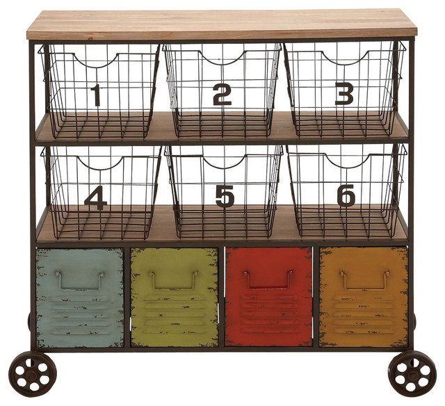 Eserman Storage Cart  sc 1 st  Houzz & Eserman Storage Cart - Industrial - Utility Carts - by Benzara ...