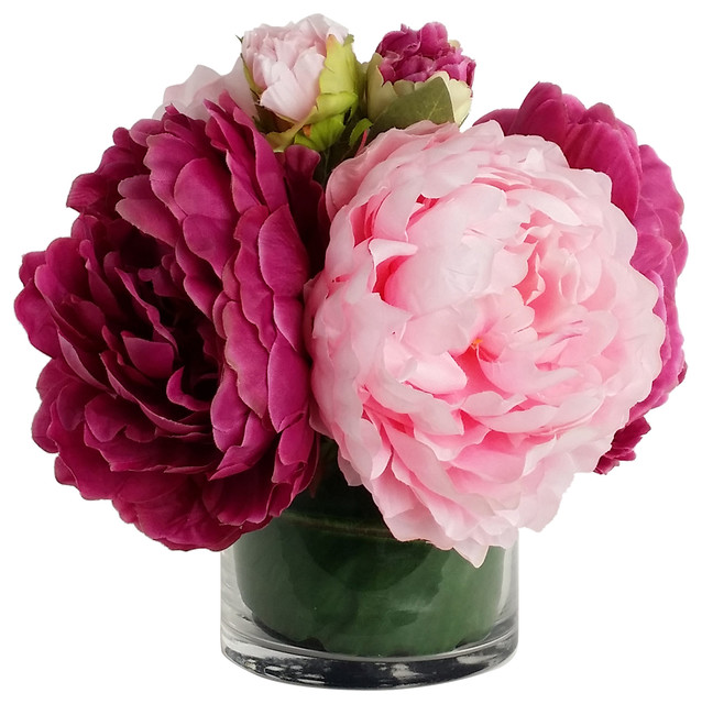 Home Decor ArtificialSilk Flower with Vase Peony Arrangement