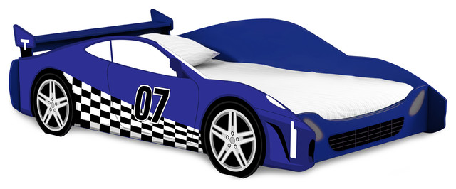 Race Car Twin Bed, Blue And White.