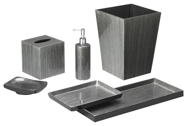 Brushstroke silver black bath set transitional by for Black bath accessories sets
