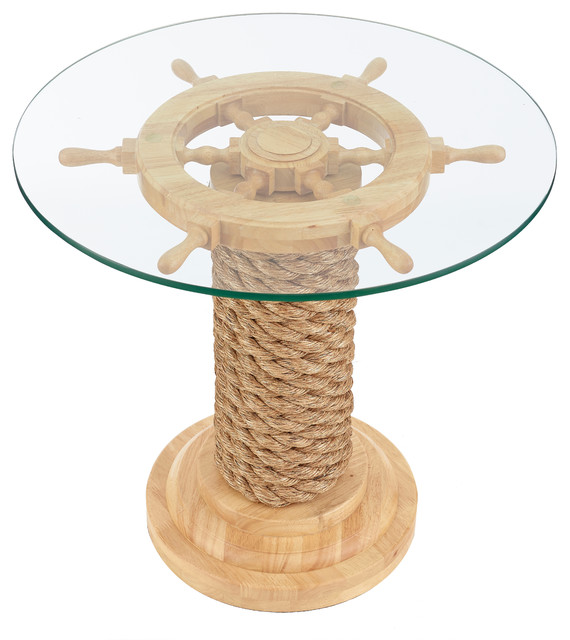 Nautical Steering Wheel Table, Natural