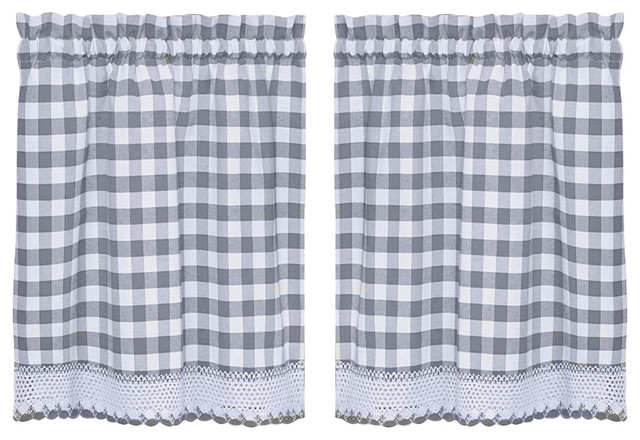 Buffalo Check Grey 24 Quot Kitchen Curtain Tier Curtains