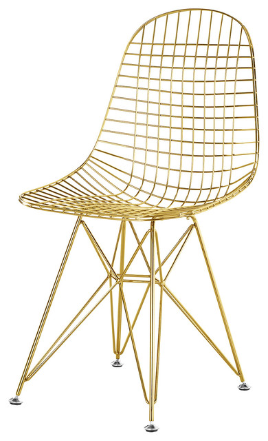 Beau Wire Mesh Eiffel Base Side Chair In Gold Finish, Without Pads