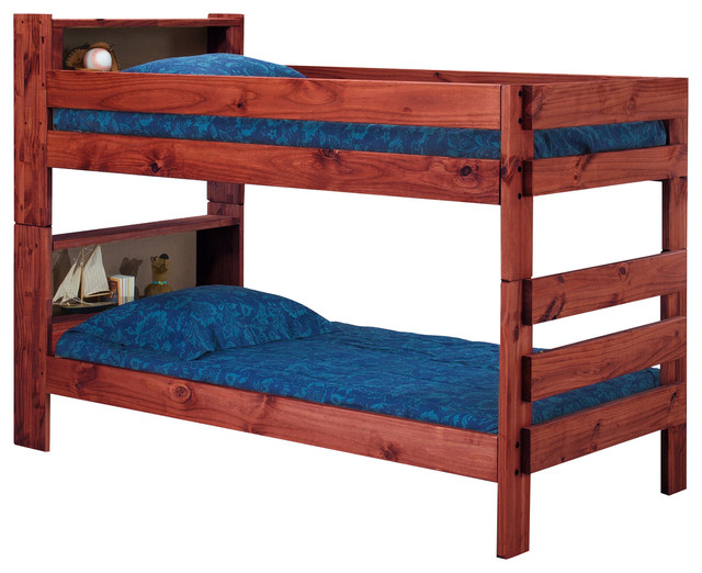 ameriwood extra long twin over twin bookcase bunk bed mahogany bunk bed only