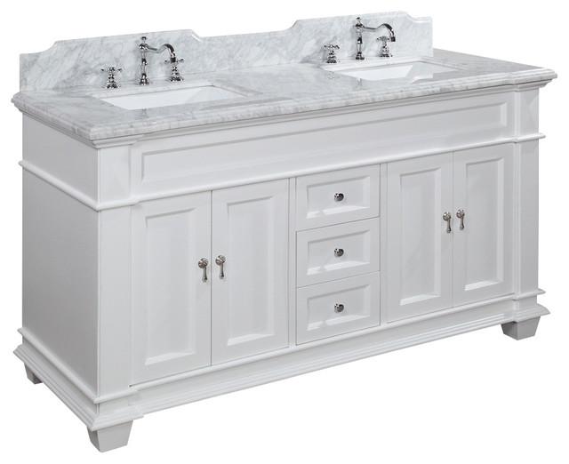 Elizabeth Double Vanity  White With Carrara Marble Top  60  traditional  bathroom. Elizabeth 60  Bathroom Vanity   Traditional   Bathroom Vanities