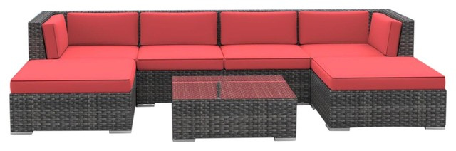 Hawaii Outdoor Patio Furniture Sofa Sectional, 7 Piece Set, Coral Red  Tropical