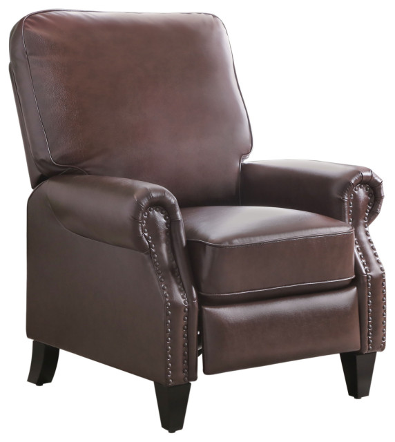 Abbyson Living Carla Leather Pushback Recliner Brown