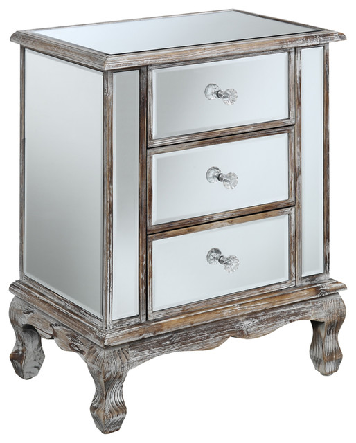 Coast vineyard 3 drawer mirrored end table traditional for Mirrored coffee table and end tables
