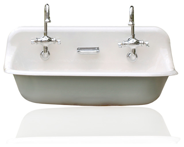 Trough Kitchen Sink : ... Cast Iron Trough Sink, Green - Farmhouse - Kitchen Sinks - by reLA