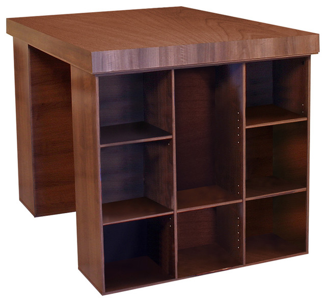 Academy Craft Table With Shelving, Walnut.