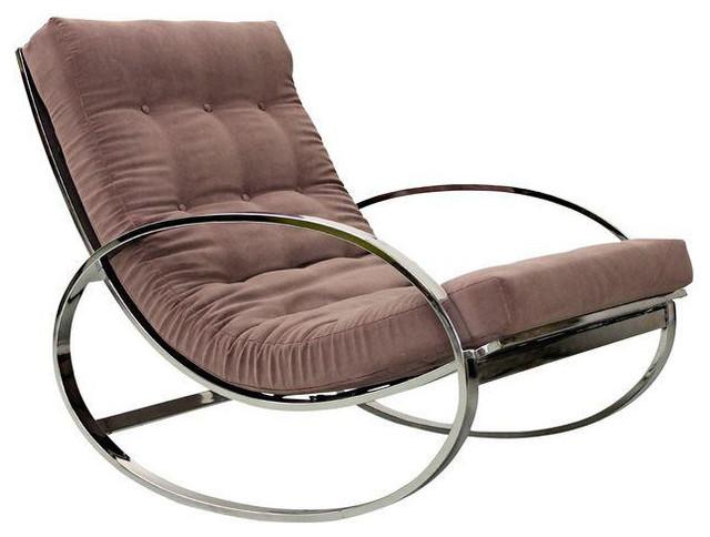 Mid Century Italian Chrome Rocking Chair Mauve