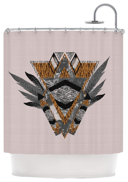 Vasare Nar Indian Feather Orange Gray Shower Curtain
