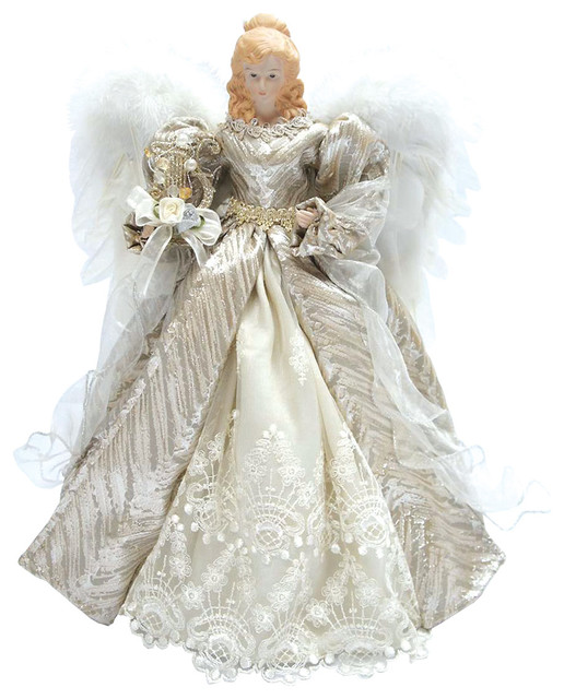 16 silver elegant angel tree topper traditional for Angel christmas tree decoration