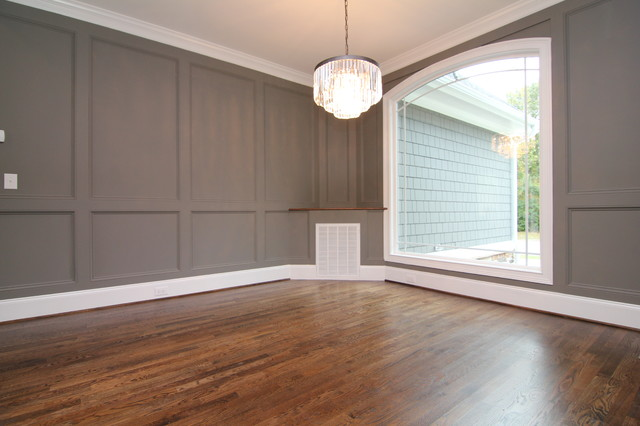 Formal Dining With Painted Wainscot Walls Transitional