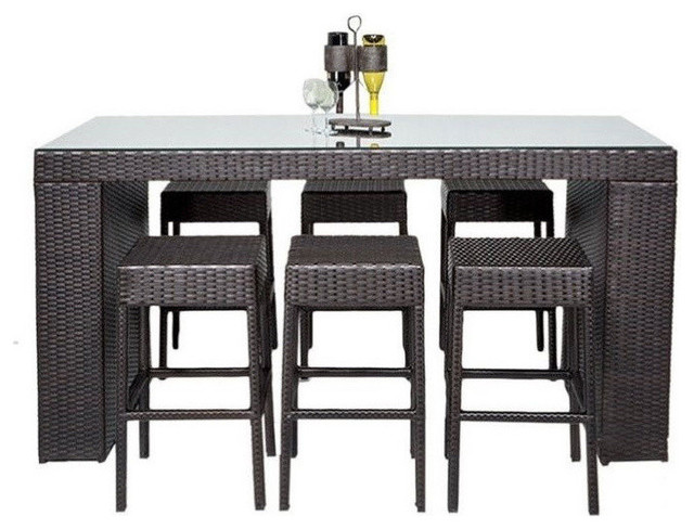 Napa 7 Piece Patio Pub Set, Espresso Contemporary Outdoor Pub And